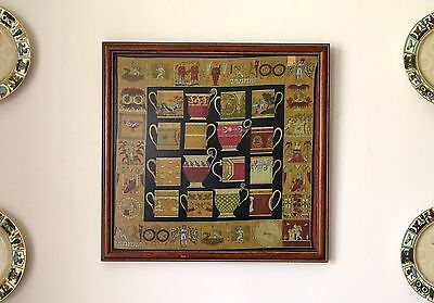 Gucci Italy FRAMED Pocket Square Scarf Tazzine Tazzini Pattern Teacups Art