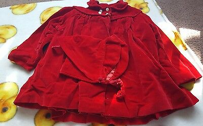 vintage 1960s girls toddlers red coat w/ bonnet fully lined 1 - 2 T ? Very cute