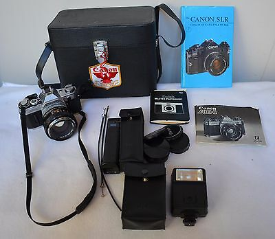 Canon AE-1 Camera w 55mm F1.2 Lens Speedlite 155A Flash + Power Winder A CLEAN