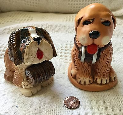 2 Vintage St Bernard Figures Clay From Ireland + With Barrel