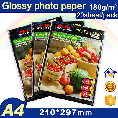 20 Sheet A4 Glossy Photo Paper 180gsm Waterproof Printing for Inkjet Printers