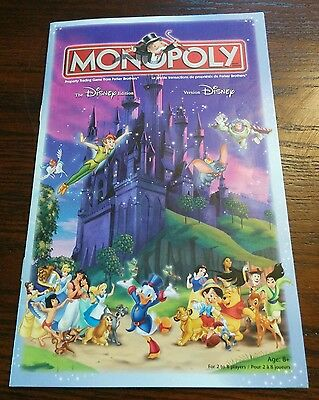 2001 Monopoly Disney Edition - Original instructions -Replacement