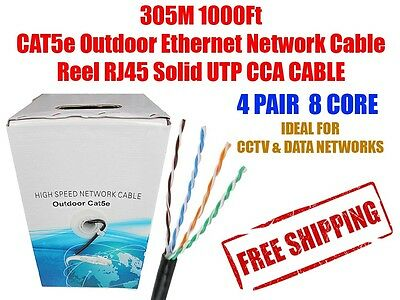 305M 1000Ft CAT5e Outdoor Ethernet Network Cable RJ45 UTP  CCA CABLE