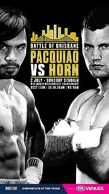 Manny Pacquiao & Jeff Horn Fight Official Poster Photo Suncorp Stadium Brisbane
