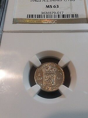 Netherlands East Indies 1942 S 1/10 Gulden NGC MS 66