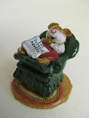 "Wee Forest Folk-M159-""forty Winks""-Green Chair-1988-Retired-Mint!!"