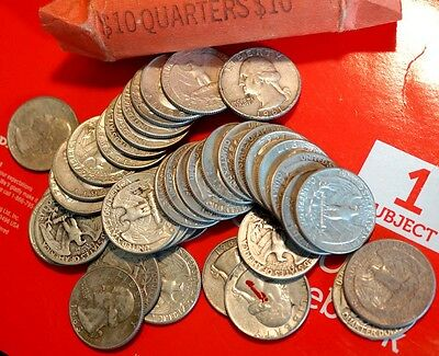 MANY DATES Roll Of 40 $10 Face 90% Silver Washington Quarters