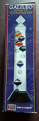 Glass Galileo Miracle Thermometer 6 Multi Color Floats decorative accessory new