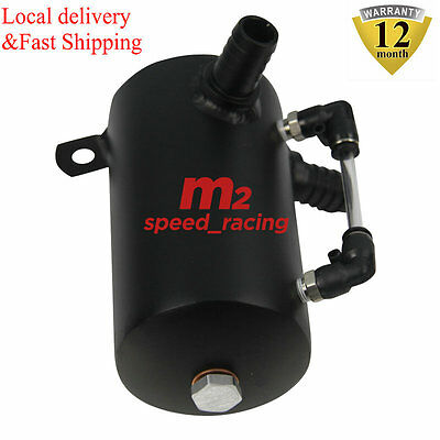 M2 0.5L Aluminum Oil Catch Can Breather Reservoir Black Tank Free Shipping