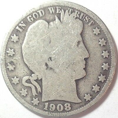 1908-O Barber Half Dollar 90% Silver US Coin