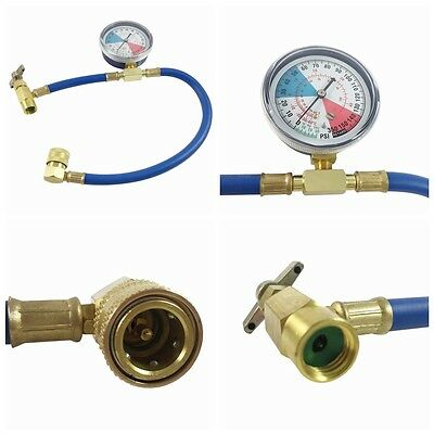 Car Air Conditioning AC Refrigerant Recharge Measuring Hose & Pressure Gauge Kit