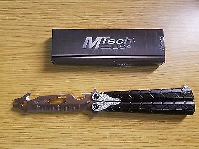 MTECH USA Practice Balisong BUTTERFLY Trainer Training Knife Multi-Tool MT-871BS