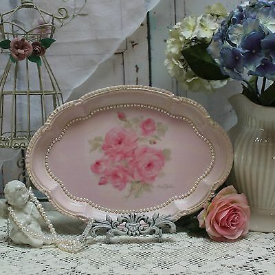 "~ French ~ Country  ~ Decorative ~ Vanity Metal Tray Vintage ""Tender Roses... ~"