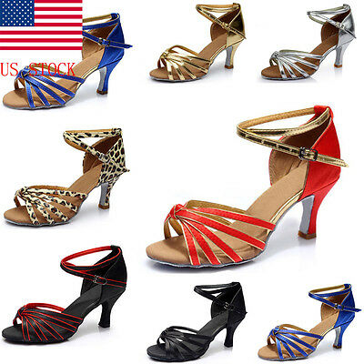 US STOCK! Womens Latin Salsa Tango Rumba Samba Dance Shoes High Heels Sandals