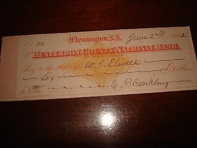 Us Stamps Checks 6/02/1882 Hunterdon County National Bank