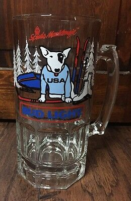 "Vtg 1987 ""Bud Light"" w/Spuds MacKenzie Thick Clear Glass Collectible Mug"