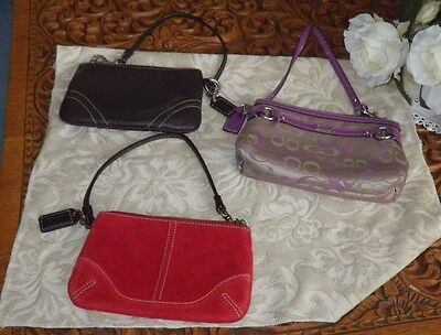 LOT GROUP OF THREE 3 COACH WRISTLET Change PURSES PUPLE RED AND BROWN