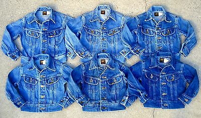 Lot of 6 Vtg 70's 80's LEE baby kids boys denim jacket Made in USA size 5,6,7,8