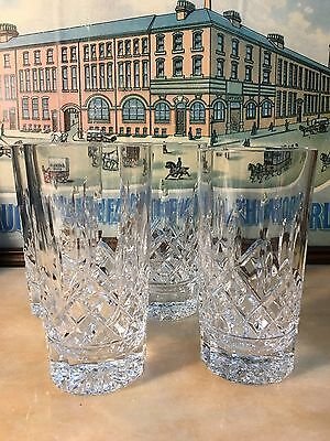 Set of 4 Quality Waterford Crystal 12 Oz Hi-Ball Tumblers in Boxes
