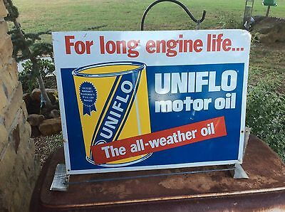 Vintage ESSO UNIFLO MOTOR OIL DOUBLE SIDED METAL SIGN OIL CAN DISPLAY SIGN RARE