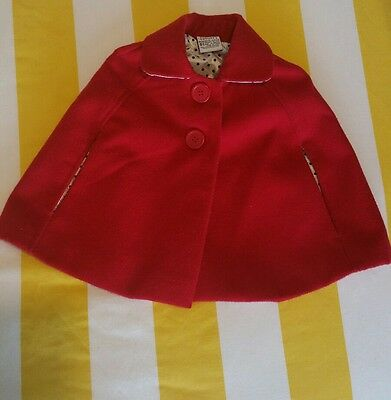 Cute , red , baby cape jacket, size 0-1.