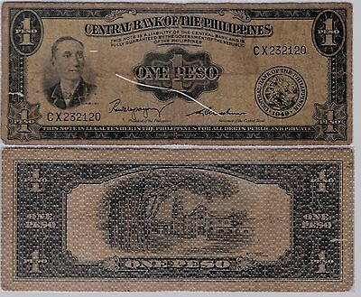 1949 ONE PESO - CENTRAL BANK OF THE PHILIPPINES - BILL (item #91)