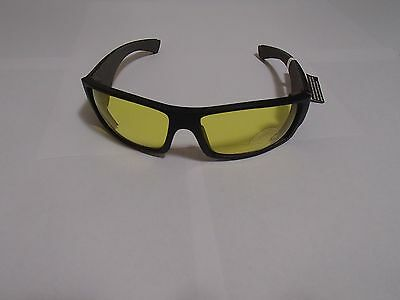 Bombers Safety Glasses Matte Black Frame, Yellow Safety Lens with Grey Foam.