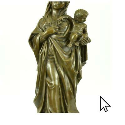 Handmade New! Mother Madonna With Baby Jesus Bronze Sculpture Figurine BM