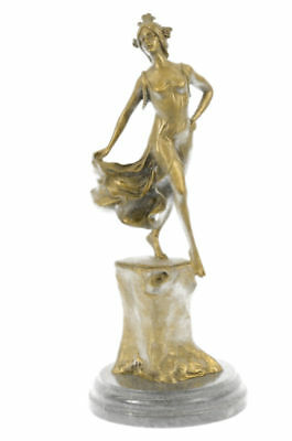 Gold Patina Hot Cast By Lost Wax Gypsy Dancer Bronze Marble Sculpture Art