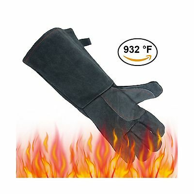 OZERO 932F(500) Heat Resistant Welding Gloves Leather BBQ Baking Grill Gloves...