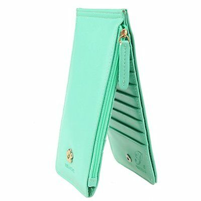 Eubags Womens Bifold Multi Card Holder Case Thin Long Wallet With Zipper Pocket
