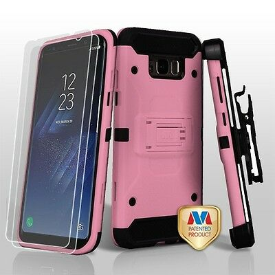 Samsung GALAXY S8 /Plus Hybrid Armor Rugged Hard Case Cover Holster Screen PINK
