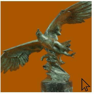 Handmade Original Bronze Eagle Sculpture Color Patina Signed Figurine Hot Cast