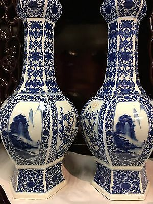 CHINESE BLUE AND WHITE ANTIQUE PAIR OF LONG NECK VASE 16Hx6W