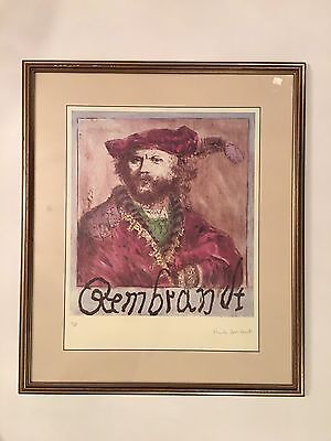 REMBRANDT SELF PORTRAIT FINE PRINT  14 Out Of 1480 SIGNED BY ARTIST WITH STAMP