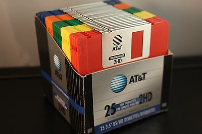 "24 New Blank AT&T IBM Formatted Colors 2HD 1.44MB 3.5"" Floppy Diskettes"