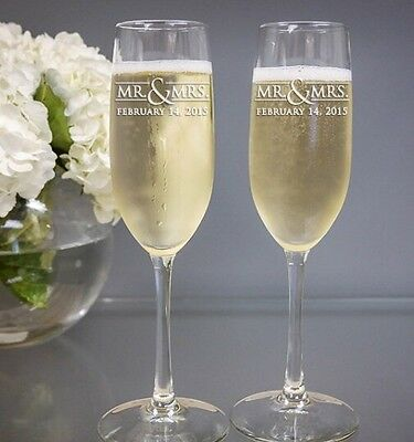 Personalised Wedding 'Mr & Mrs' Champagne Flute Gift