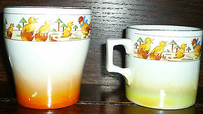 Vintage Child's nursery ware, Beaker, Cup and 2 egg cups 1930s  REDUCED