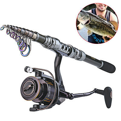 Telescopic Fishing Rod and Reel Combos Kit Carbon Bass Tackle Spinning Gears Set