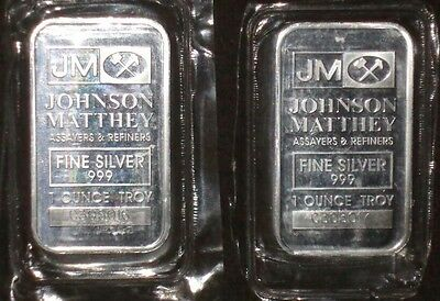 """TWO """"2"""".1oz Johnson Matthey 999 Silver Bar- consecutive numbers-Original packag"""