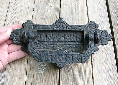 Ornate Cast Iron Letter Box Plate / Mail Slot with Door Knocker / Mailbox