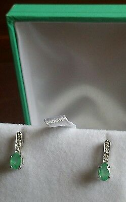 9ct Solid white Gold Authentic Natural Emerald & Diamond drop earrings.