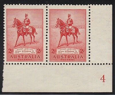 1935 Jubilee 2d plate 4 pair, LRC, mnh tone