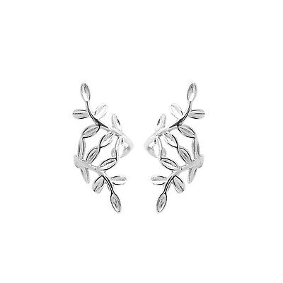 Solid 925 Sterling Silver Leaves No Piercing Earring Clip On Wrap Cuff  Earring