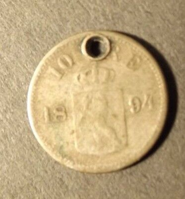 Norway 10 Ore Silver Coin Dated 1894 Holed 1.38 Grams