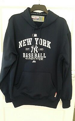 Large Navy Mlb New York Yankees Therma Base Hooded Top Authentic Collection