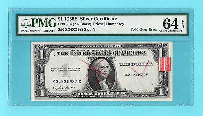 1935E $1 silver certificate Fold Over Error BEP Rejection marks & Tag PMG EPQ 64
