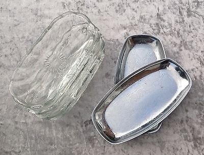 set of 4 Vintage Glass Serving Dish Party Snacks Tapas Retro Table Ware