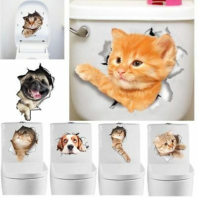 DIY 3D Cat Bathroom Cute Animal Wall Stickers Decals Vinyl Mural Home Decor New