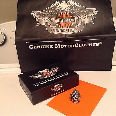 Harley Davidson Thierry Martino 925 St. Silver Indian Skull Ring Red Ruby Eye  9